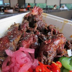 """Pig Cheeks at Mighty Quinn's by <a href=""""https://www.flickr.com/photos/scottlynchnyc/14848622265/in/pool-eater"""">Scoboco"""
