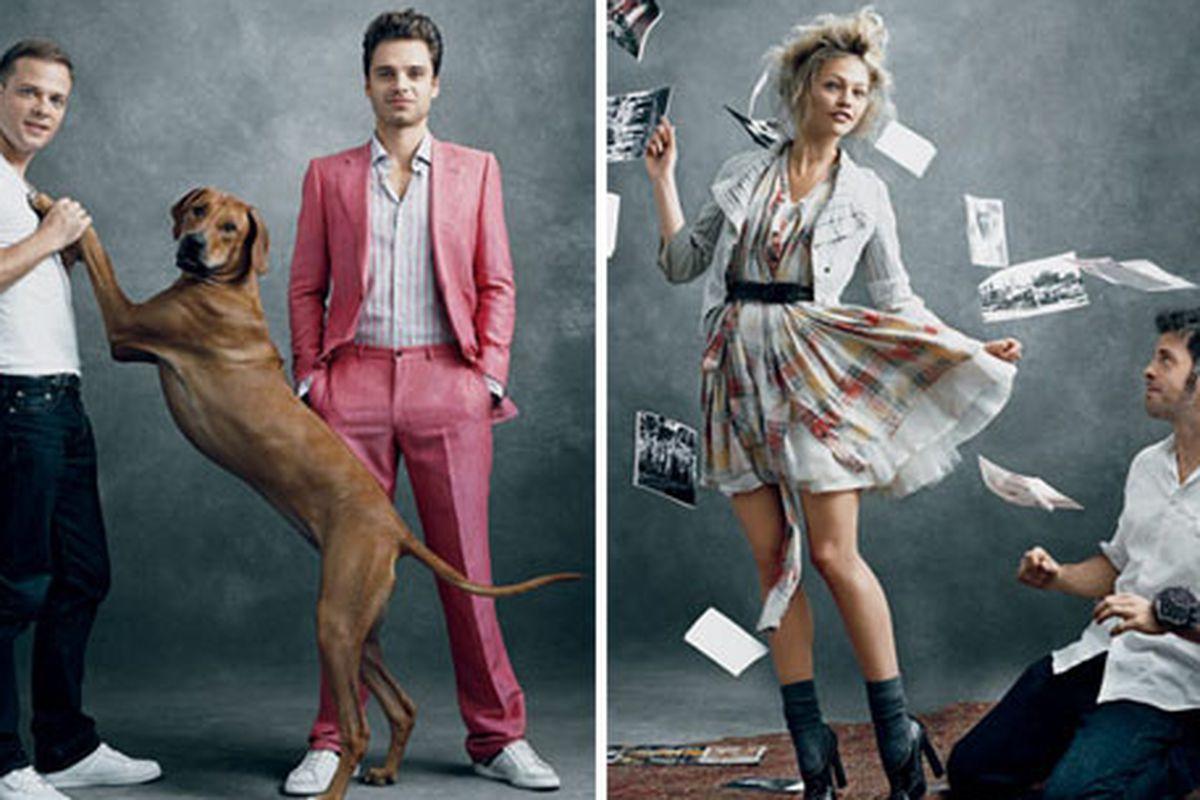 "Left: Simon Spurr, his dog Apollo, and actor Sebastian Stan; Right: Gary Graham and Sasha Pivovarova. Via <a href=""http://www.style.com/vogue/feature/2009_November_Top_Ten/"">Vogue</a>"