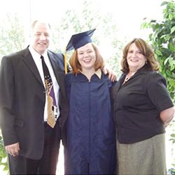 Erin Dull with parents Bob & Jackie at her BYU graduation.