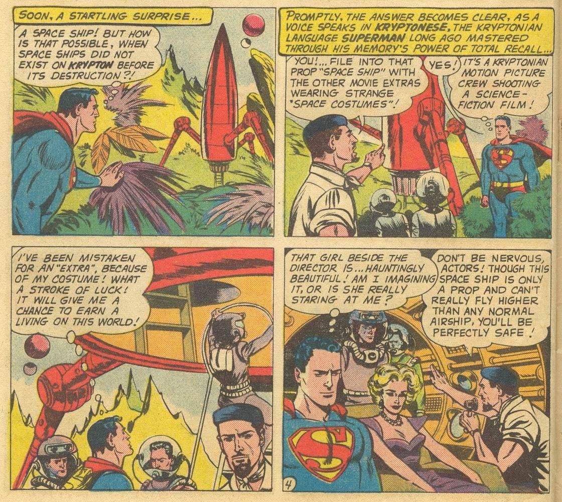 Superman stumbles across a Kryptonian movie shoot and is mistaken for an extra because of his costume in Superman #141, DC Comics (1960).