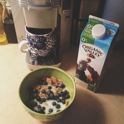 I always teach two classes Sunday mornings at <b>SoulCycle</b>, so I have to kick-start my day with a small, yet nutritious breakfast. Today it was coffee and cereal with blueberries. I like <b>Barbara's multigrain</b> shredded spoonfuls and add the blueb
