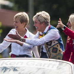 Primary general presidency Cheryl A. Esplin, left, Rosemary M. Wixom and Mary R. Durham wave during the Days of '47 Union Pacific Railroad Youth Parade held Saturday, July 18, 2015, in Salt Lake City.