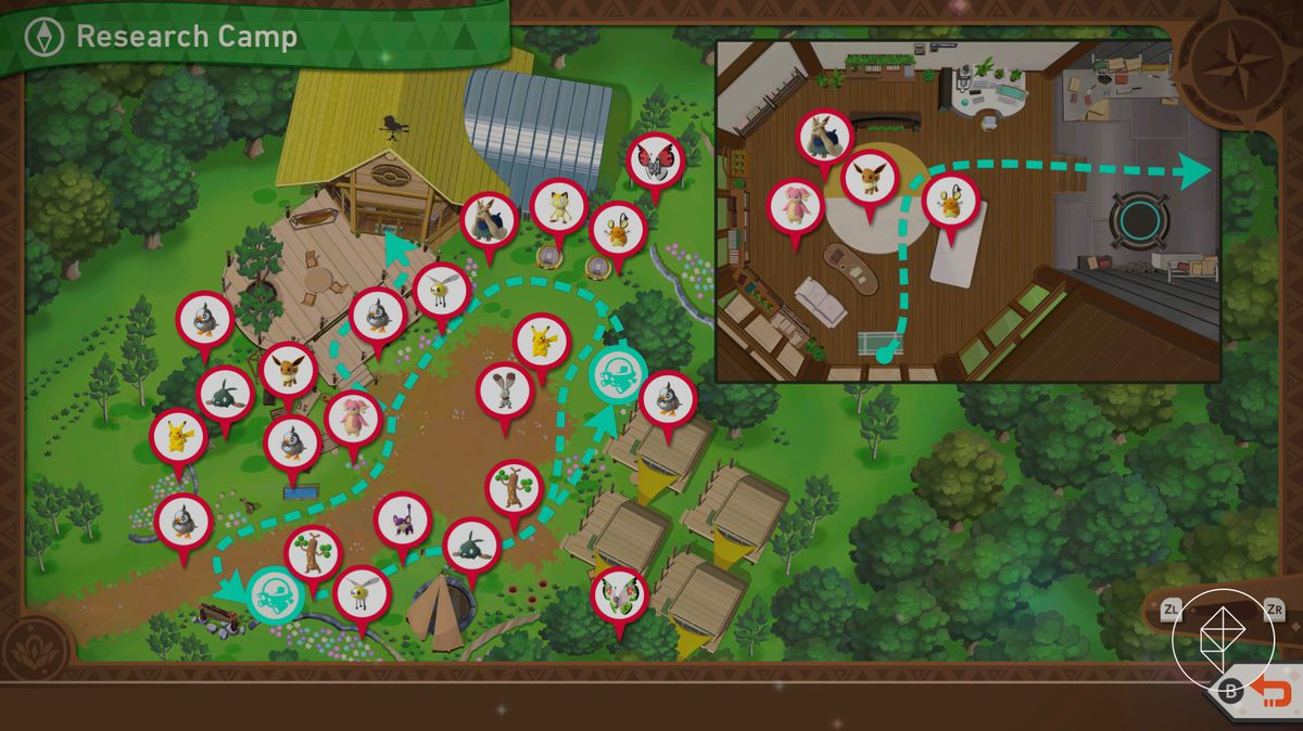A map showing all the Pokémon at the Research Camp