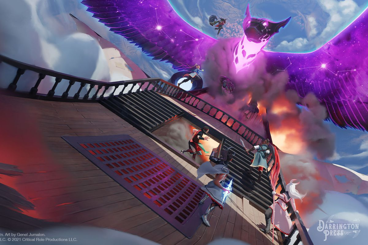 Air airship under attack by a purple dragon in Tal'Dorei Campaign Setting Reborn. Fire leaps from the hold below the pilot's deck.