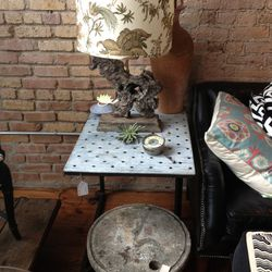 Stone table ($308), end table ($352), and lamp ($384)