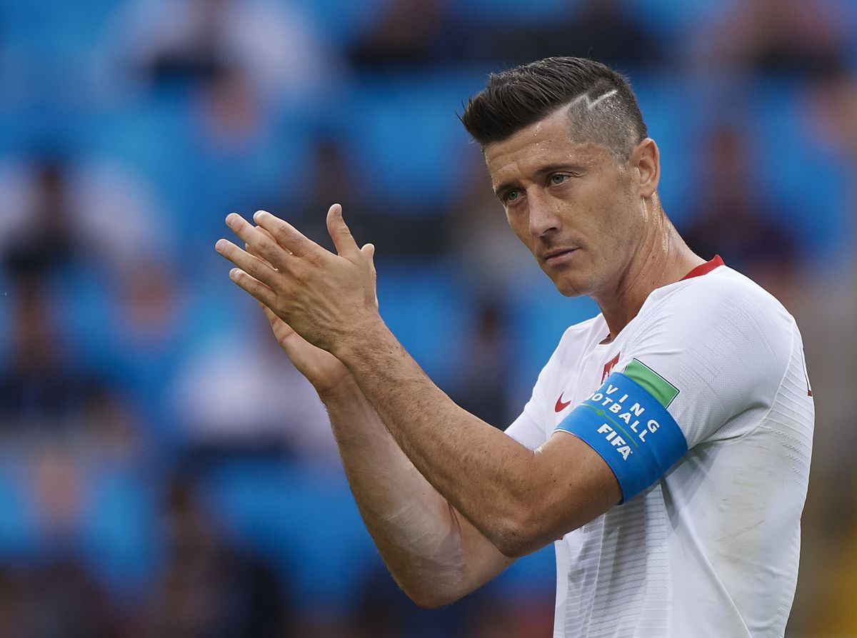 Poland v Senegal: Group H - 2018 FIFA World Cup Russia MOSCOW, RUSSIA - JUNE 19: Robert Lewandowski of Poland reacts during the 2018 FIFA World Cup Russia group H match between Poland and Senegal at Spartak Stadium on June 19, 2018 in Moscow, Russia.