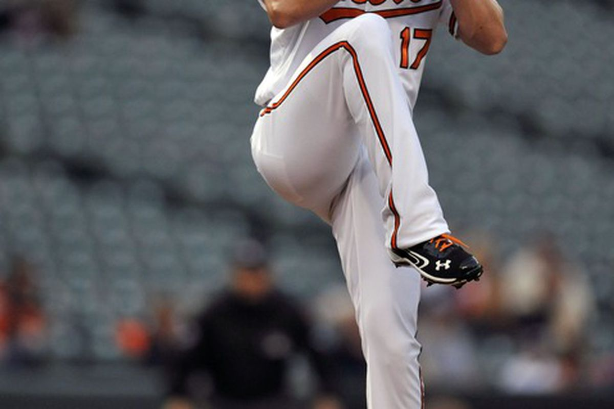 O's fans can only hope that Brian Matusz is the least disappointing young  starting pitcher to take the mound tonight. Mandatory Credit: Joy R. Absalon-US PRESSWIRE