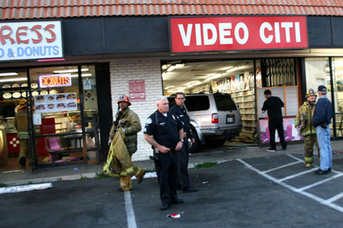 """An SUV crashed into a video store in North Hollywood. Photo via <a href=""""http://northhollywood.patch.com/articles/suv-crashes-into-strip-mall"""">Patch</a>."""