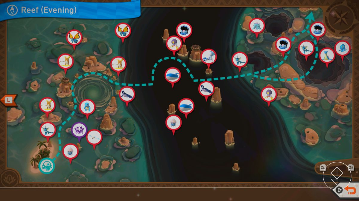 A map showing the different Pokémon in Maricopia Reef during the nighttime