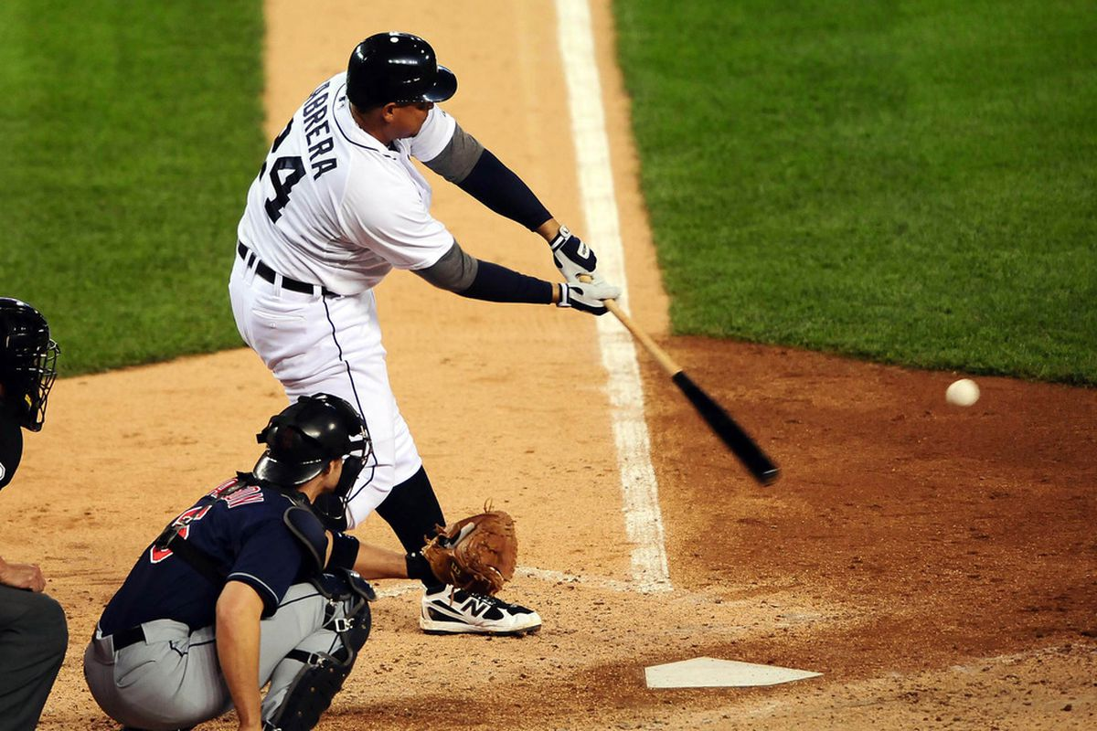 June 5, 2012; Detroit, MI, USA; Detroit Tigers third baseman Miguel Cabrera (24) bats in the seventh inning  against the Cleveland Indians at Comerica Park. Mandatory Credit: Andrew Weber-US PRESSWIRE