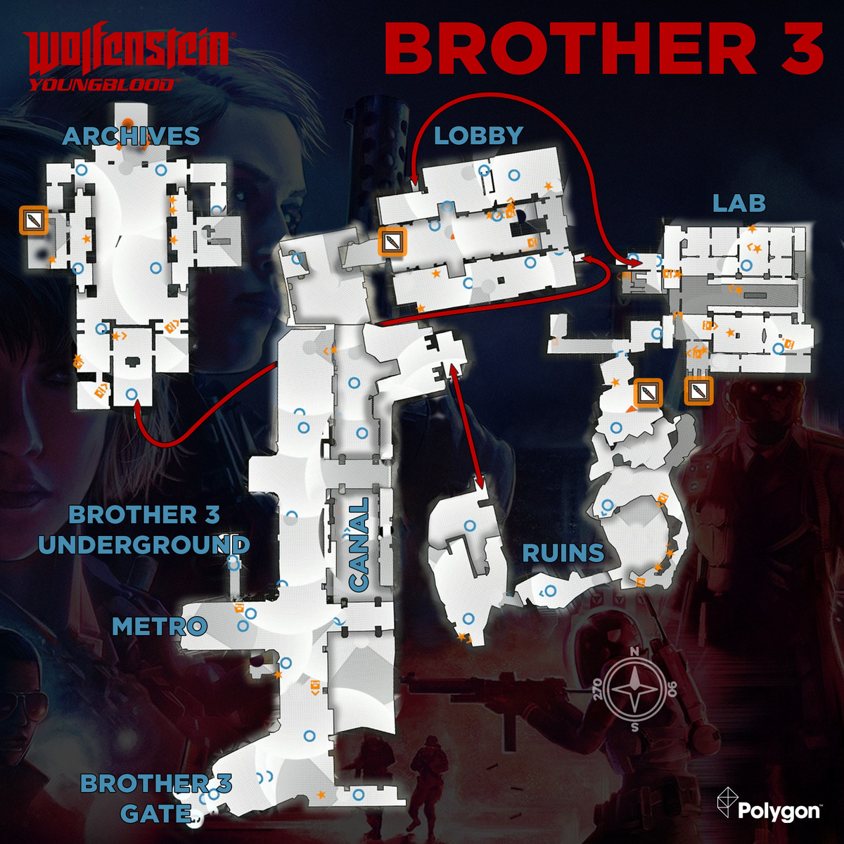 Wolfenstein: Youngblood Brother 3 map with Concept Packages icons