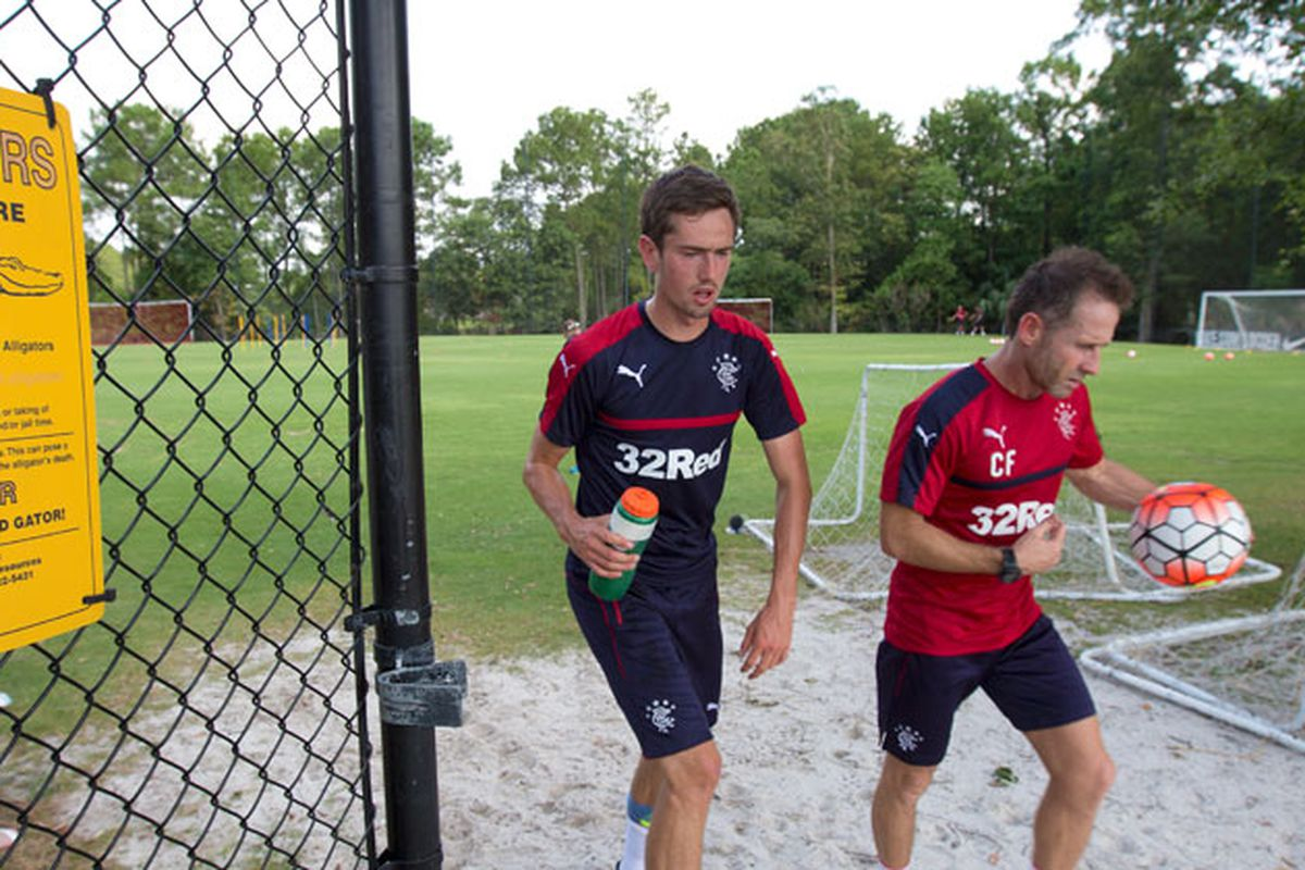 Ryan Hardie (L) walks off the training pitch after Day One in Charleston.