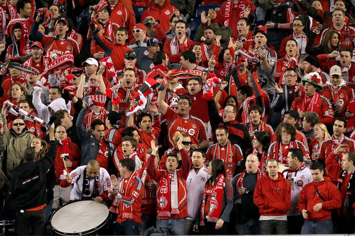 How many Toronto FC supporters will be headed to Harrison, New Jersey on Wednesday night? (Photo by Jim Rogash/Getty Images)