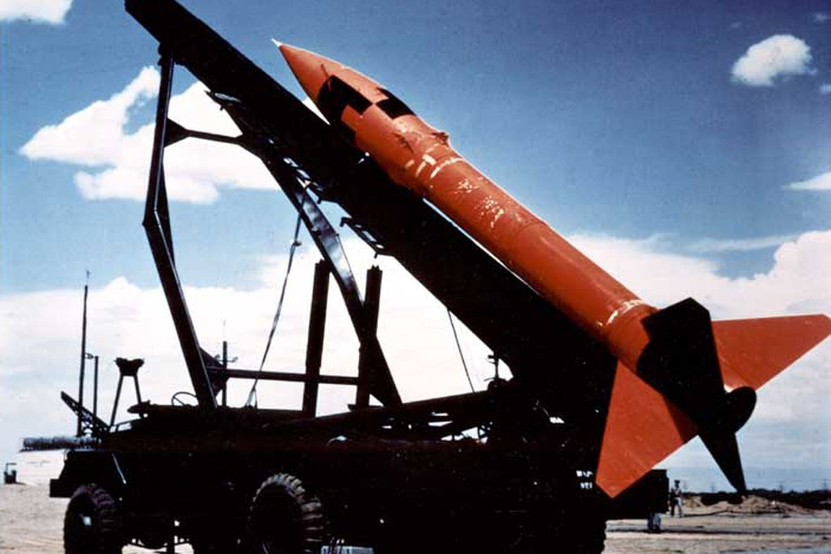 A MGR-1 Honest John, the United States' first nuclear-tipped rocket .