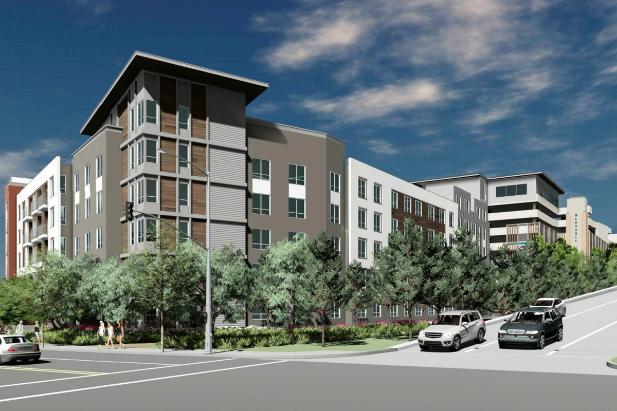 A rendering of the apartment building right at the end of the offramp.