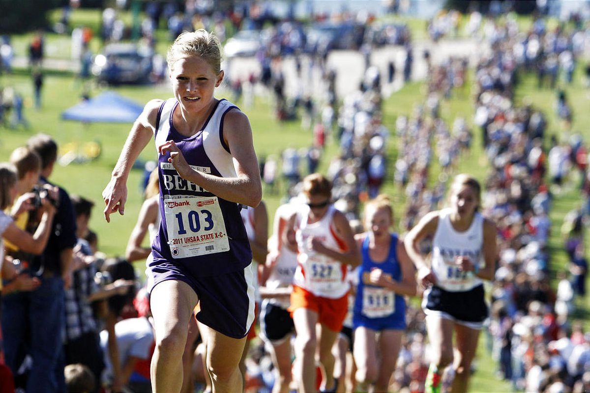 Box Elder's Kelsey Braithwaite (103), won Wednesday's girls 4A state cross country high school championship at Sugarhouse Park with a time of 17:36.4.
