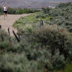 A racer runs the last leg of the Ragnar Relay Wasatch Back race in Park City on Saturday.