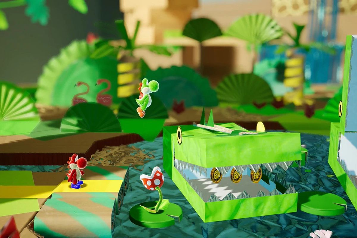 Image result for yoshi's crafted world gif