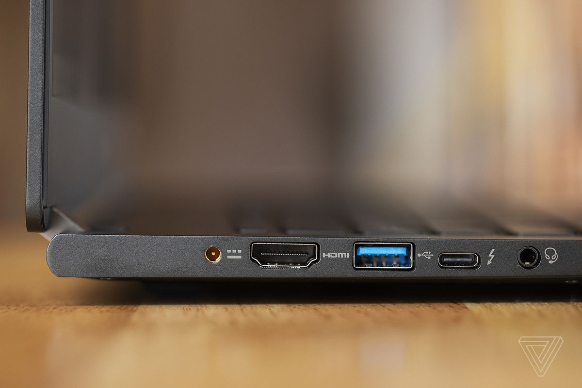 The ports on the left side of the Acer Travelmate P6.