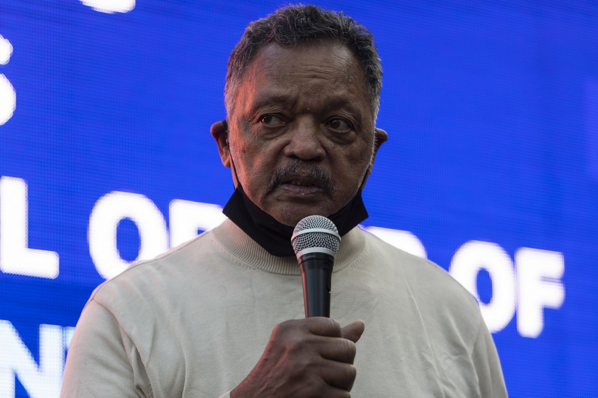 The Rev. Jesse Jackson speaks to a crowd that gathered on Friday to remember what would have been Laquan McDonald's 23rd birthday.