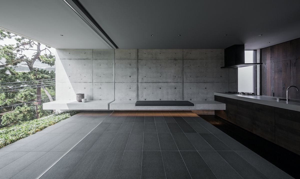 Kitchen that opens onto terrace.