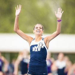 BYU track star Shea Martinez recently married Cougar basketball player Kyle Collinsworth.