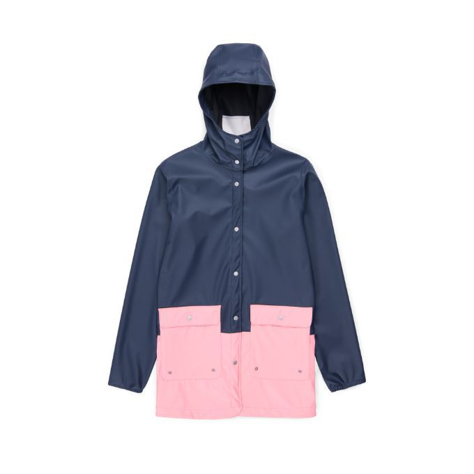 A pink and navy raincoat