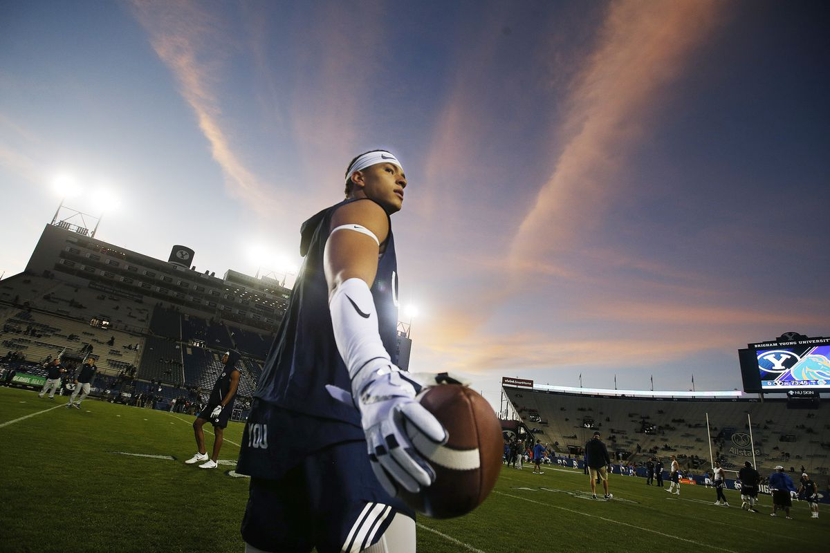 BYU defensive back Chaz Ah You warms up prior to game with the Boise State Broncos in Provo on Friday, Oct. 6, 2017.
