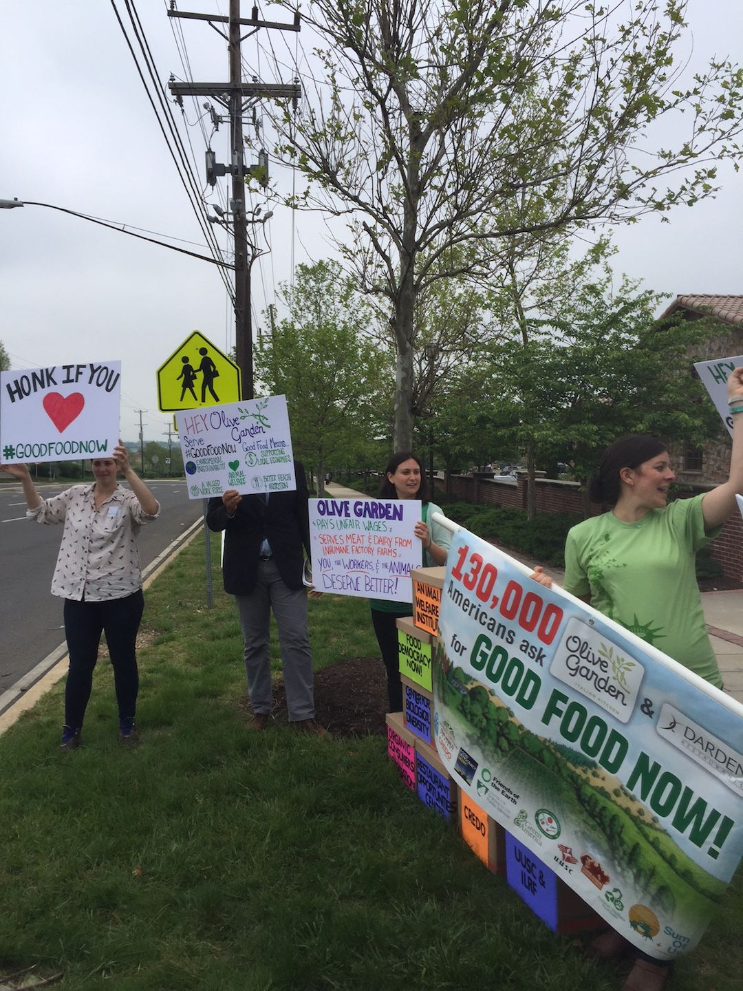 Protesters at a Hyattsville, Md. Olive Garden Thursday