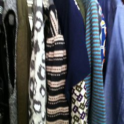 Women's main floor selections. The black and white printed knit dress is Nanette Lepore.