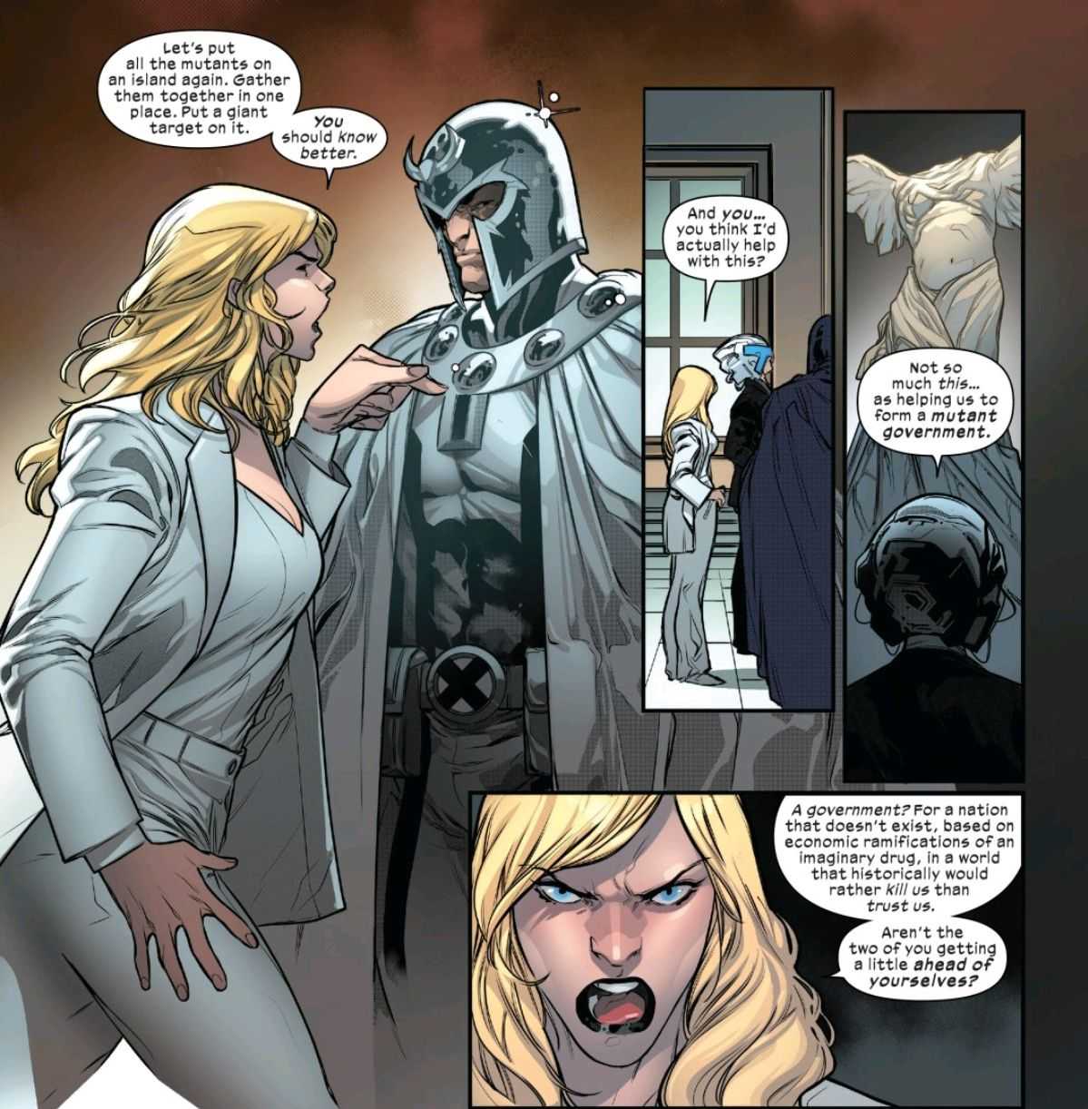 Emma Frost berates Magneto and Professor X for endangering mutants with their too ambitious plan for a mutant nation, in Powers of X #5, Marvel Comics (2019).