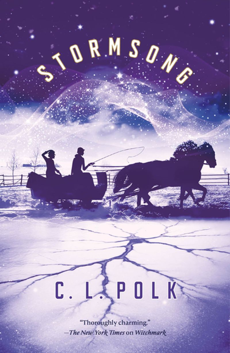 stormstrong cover has a horse and sleigh riding across ice