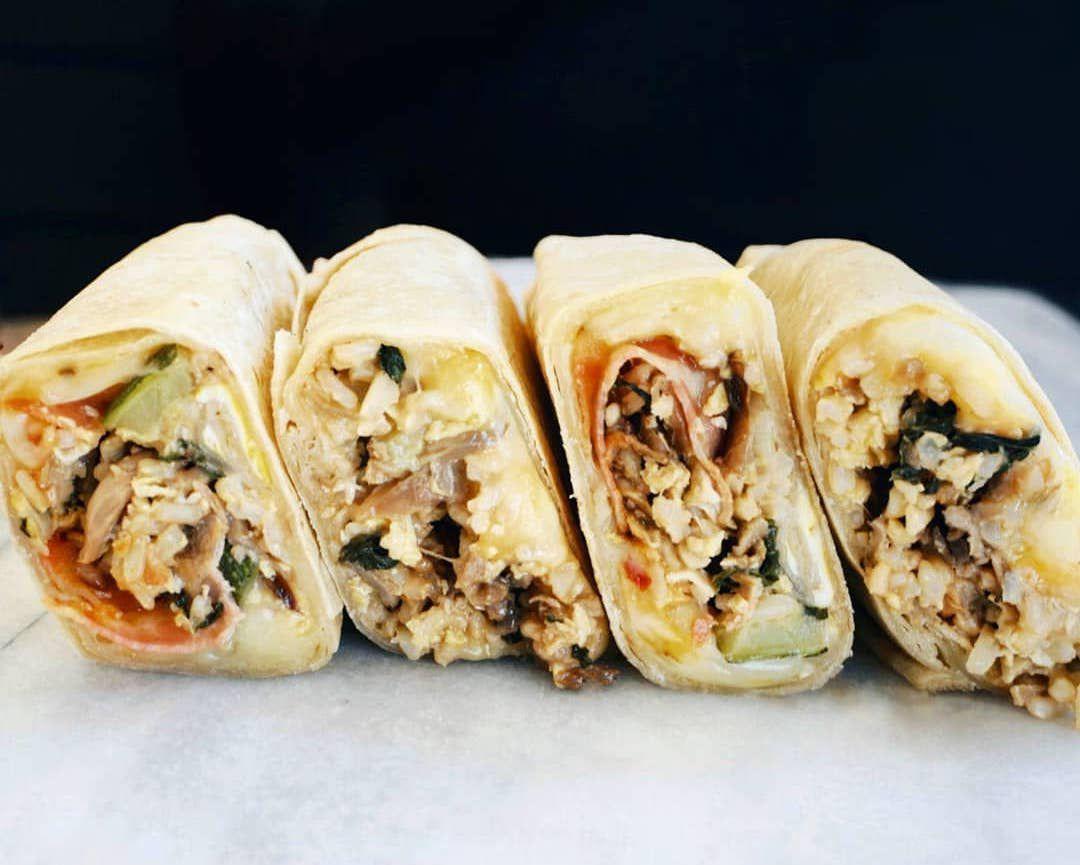 Cross sections of breakfast burritos.