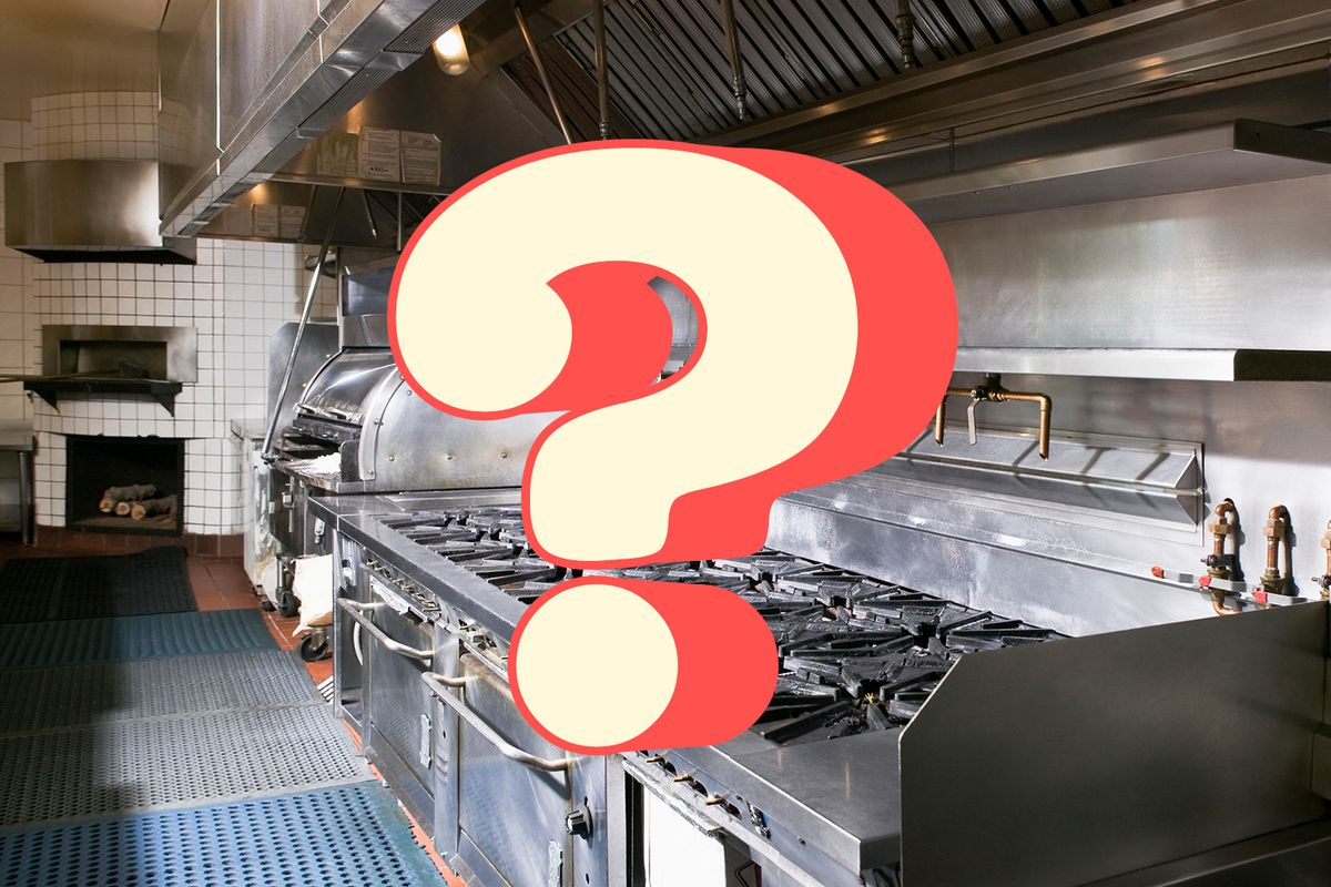 An empty restaurant kitchen, with a graphic of a question mark illustrated on top.