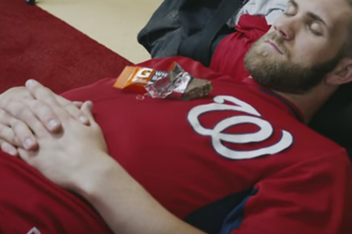 Bryce Harper naps like a champion in latest Gatorade ad.