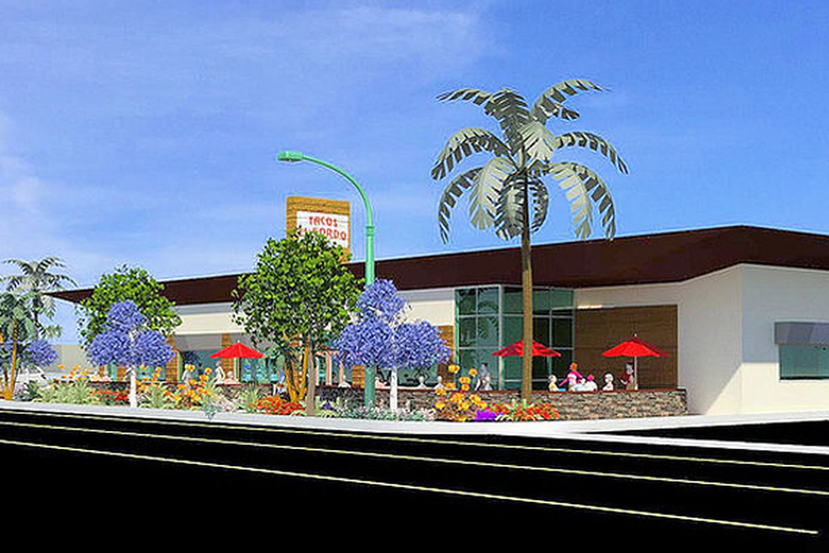 A rendering by GT/AD Studio of the future Tacos El Gordo restaurant, located close to Town Square.