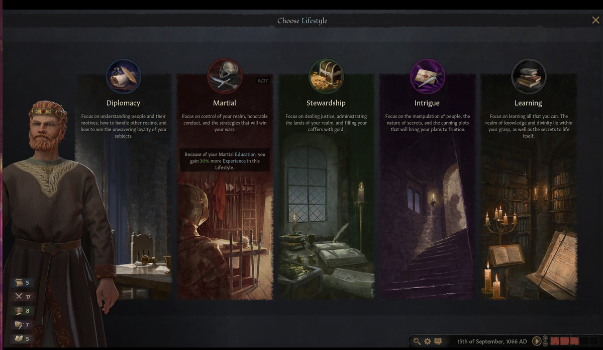 The lifestyle screen in Crusader Kings 3