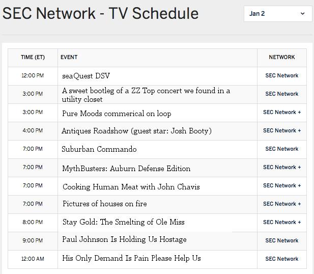 SEC Network schedule
