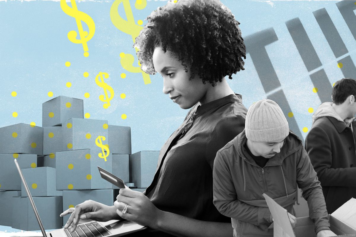 Photoillustration of retail workers, packages, and dollar signs.