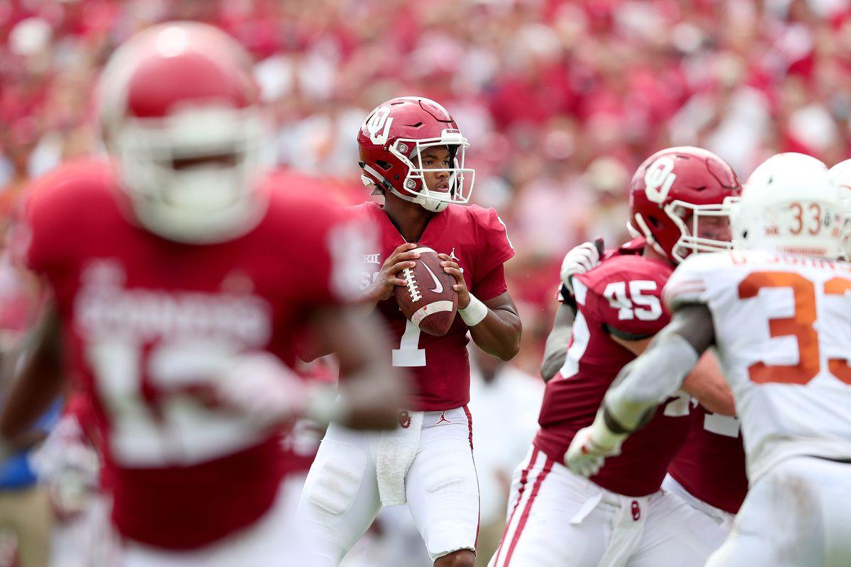 Oklahoma Sooners quarterback Kyler Murray looks to pass the football