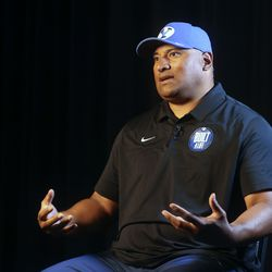 BYU head football coach Kalani Sitake answers interview questions during BYU Football Media Day at the BYU Broadcasting Building in Provo on Thursday, June 17, 2021.