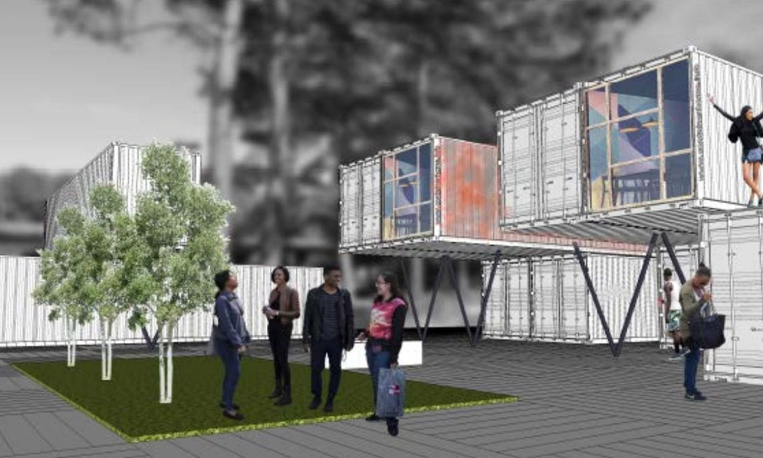 Containers, some cantilevered, stacked two high, with green gathering spaces in between.