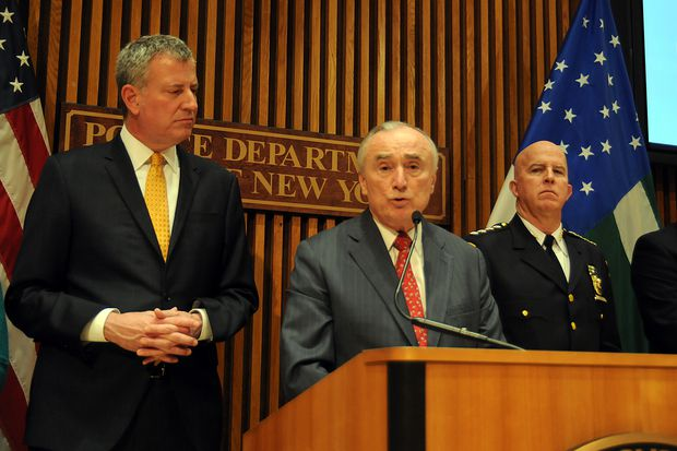 Mayor Bill de Blasio, outgoing Police Commissioner Bill Bratton and his hand-picked successor, then-Chief of Department James O'Neill,  at NYPD Headquarters on Feb. 3, 2016.