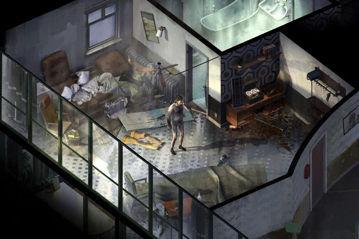 A man in his underwear stands in a messy hotel room in Disco Elysium