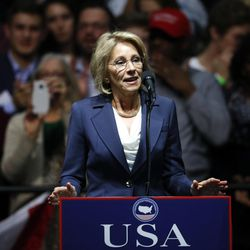 Betsy DeVos speaks during a rally in Grand Rapids, Mich., on Dec. 9, 2016. She will join Donald Trump's administration as the Education Secretary.