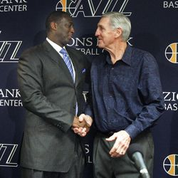 Tyrone Corbin__1989: Playoff plans with Karl Malone__2009: Hall of Fame with John Stockton__2007: Strategy with Deron Williams__2011: Tearful retirement moment__Jerry Sloan smiles for  a grateful Jazz fan as he leaves Zions Bank Basketball Center after Thursday's announcement.