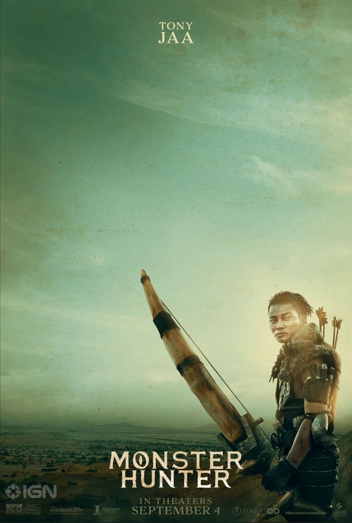 Tony Jaa holding an oversized bow. The sky is similarly green, but the poster itself also seems distressed. Perhaps there's a dust storm, or the poster was damaged.