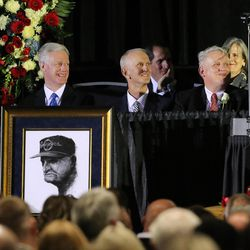 BYU President Kevin J Worthen, Robbie Bosco, John Edwards, son, Jimmy Edwards, son, and Ann Cannon, daughter, listen as family, friends and former team members gather to honor former BYU football coach LaVell Edwards at a memorial service at the Provo Convention Center on Friday, Jan. 6, 2017.