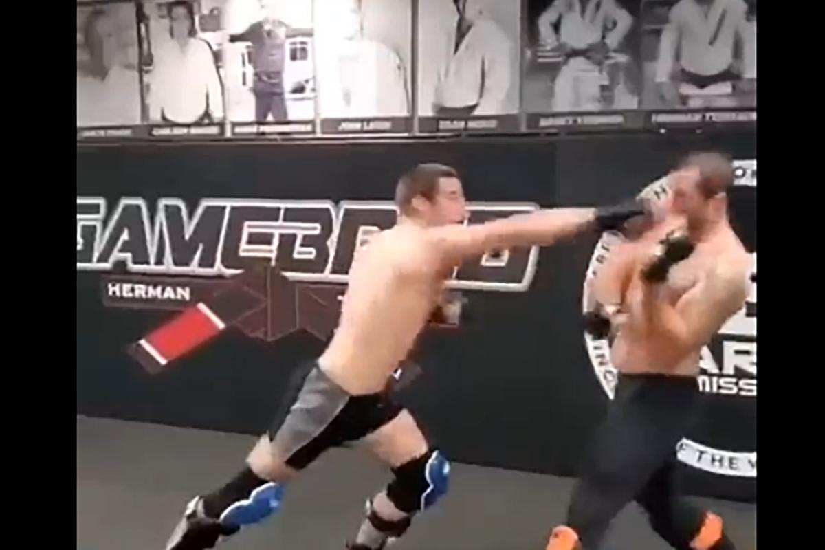 UFC's Sean Strickland spars PFL's Emiliano Sordi.