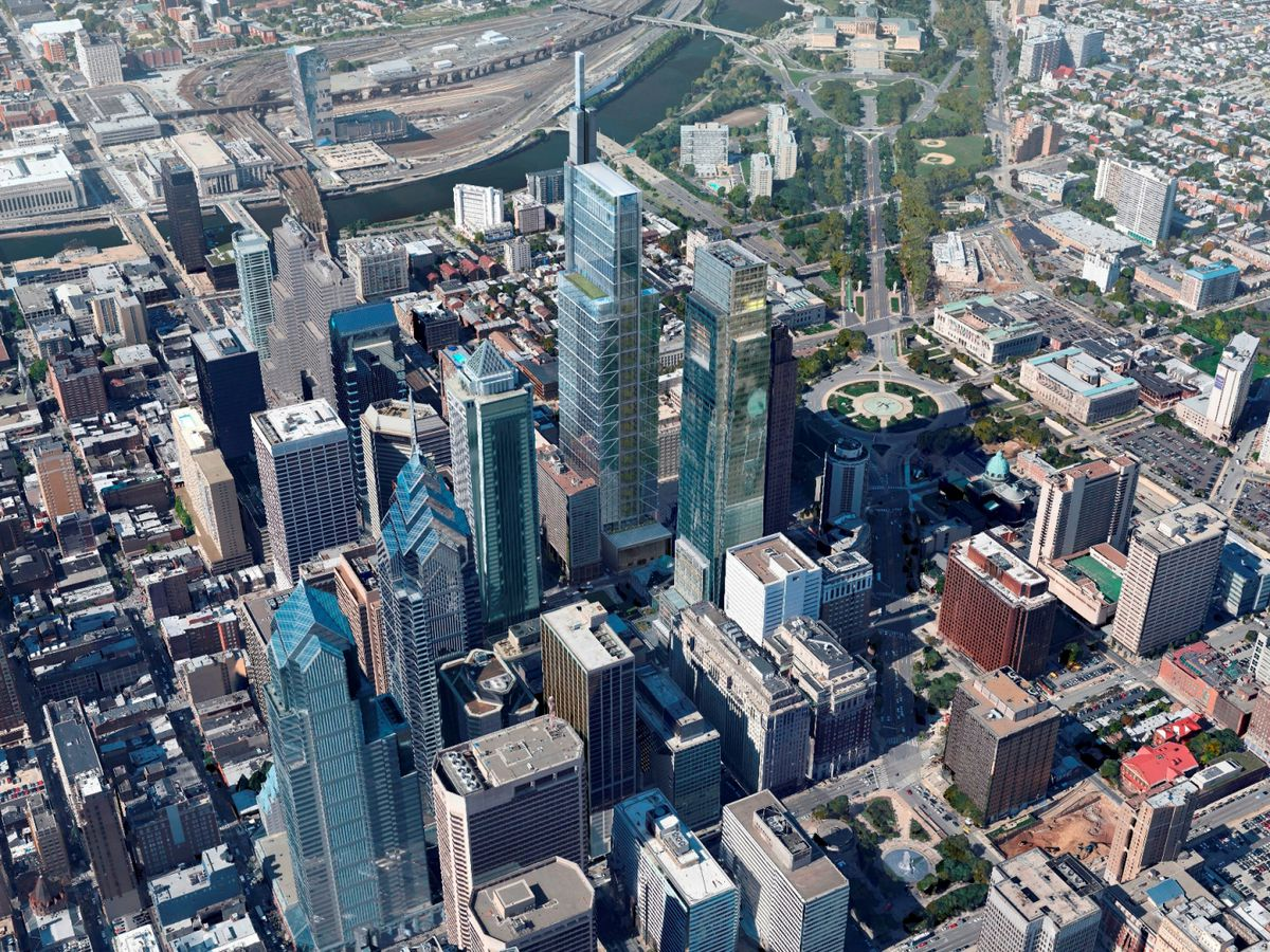 An aerial view of city buildings in Philadelphia including the Comcast Technology Center.